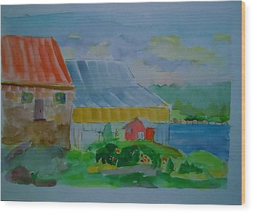 Wood Print featuring the painting Lubec Fishery by Francine Frank