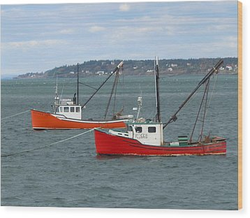 Wood Print featuring the photograph Lubec Lobster Boats by Francine Frank