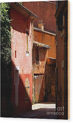 Wood Print featuring the photograph Luberon Village Street by Olivier Le Queinec