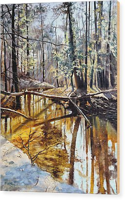 Wood Print featuring the painting  Lubianka-2-river by Henryk Gorecki