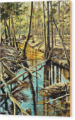 Wood Print featuring the painting  Lubianka-3-river by Henryk Gorecki