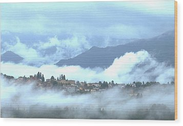 Lucca In The Fog Wood Print by Winston Moran