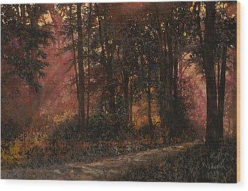 Luci Nel Bosco Wood Print by Guido Borelli