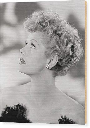 Lucille Ball Portrait, 1940s Wood Print by Everett