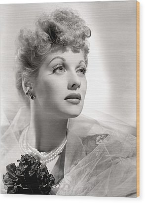 Lucille Ball Portrait With Gauze, 1940s Wood Print by Everett