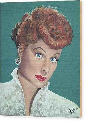 Lucille Ball Wood Print by Tom Carlton