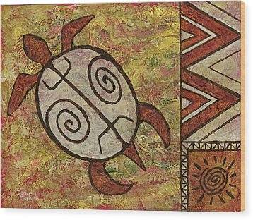 Wood Print featuring the painting Lucky Honu by Darice Machel McGuire