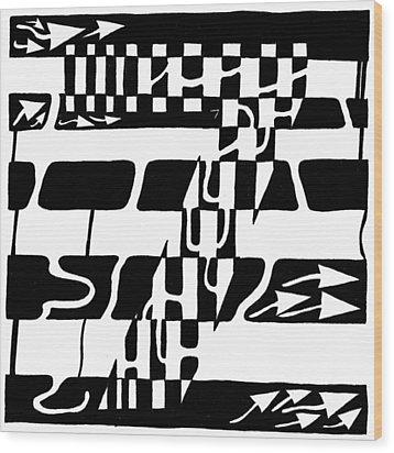 Lucky Maze Number 7 Wood Print by Yonatan Frimer Maze Artist