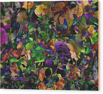 Lucy In Sky Pansies Wood Print