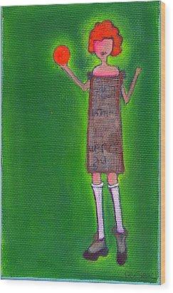 Lucy's Fritzy Orange Ball Wood Print by Ricky Sencion