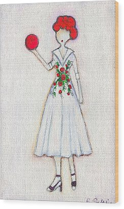 Lucy's Rosey Red Ball Wood Print by Ricky Sencion
