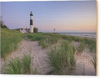 Wood Print featuring the photograph Ludington Beach And Big Sable Point Lighthouse by Adam Romanowicz