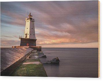 Wood Print featuring the photograph Ludington Light Sunrise Long Exposure by Adam Romanowicz