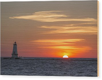 Wood Print featuring the photograph Ludington North Breakwater Light At Sunset by Adam Romanowicz