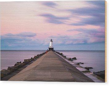 Wood Print featuring the photograph Ludington North Breakwater Light Sunrise by Adam Romanowicz