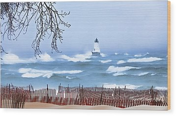 Ludington Winter Shore  Wood Print by Dick Bourgault