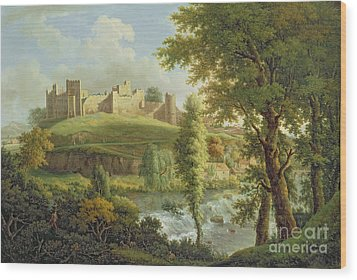 Ludlow Castle With Dinham Weir Wood Print by Samuel Scott