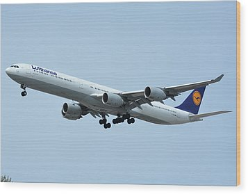 Wood Print featuring the photograph Lufthansa Airbus A340-600 D-aihw Los Angeles International Airport May 3 2016 by Brian Lockett