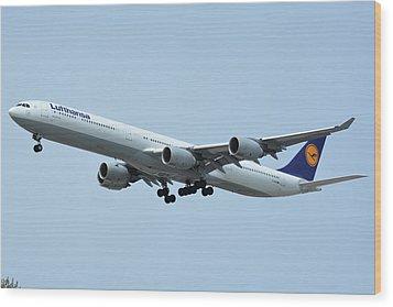 Lufthansa Airbus A340-600 D-aihw Los Angeles International Airport May 3 2016 Wood Print by Brian Lockett