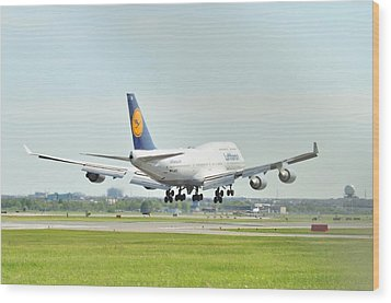 Lufthansa Airlines 747 Wood Print by Puzzles Shum