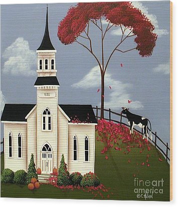 Lulabelle Goes To Church Wood Print by Catherine Holman