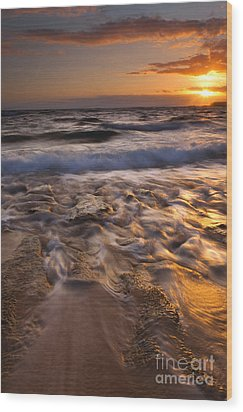 Lumaha'i Dawn Wood Print by Mike  Dawson