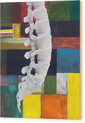 Lumbar Spine Wood Print by Sara Young
