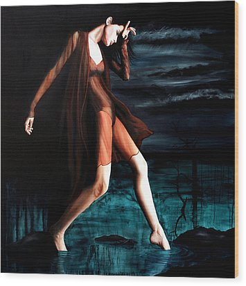 Luna Triste Wood Print by Ryan Swallow