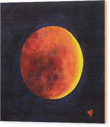 Lunar Eclipse Wood Print by Marina Petro