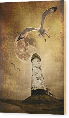 Lunar Flight Wood Print by Meirion Matthias