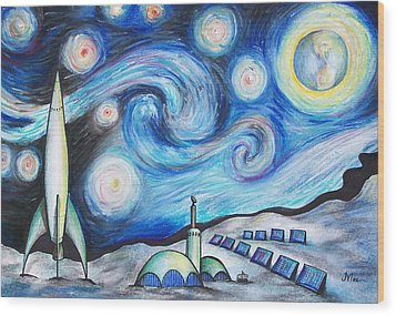 Lunar Starry Night Wood Print by Jerry Mac