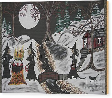 Wood Print featuring the painting Lunch by Jeffrey Koss
