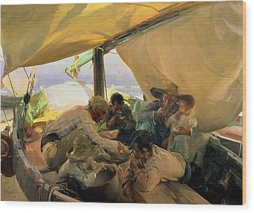 Lunch On The Boat Wood Print by Joaquin Sorolla y Bastida