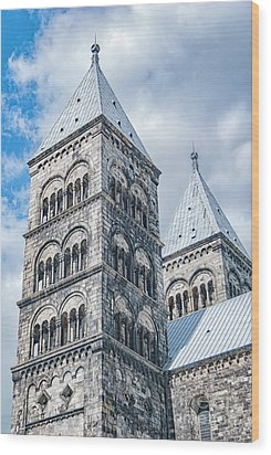 Wood Print featuring the photograph Lund Cathedral In Sweden by Antony McAulay