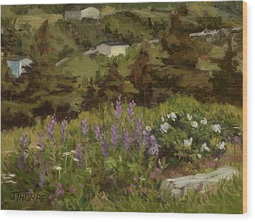 Lupine And Wild Roses Wood Print by Jane Thorpe