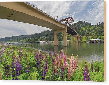 Lupine In Bloom By Sauvie Island Bridge Wood Print by David Gn