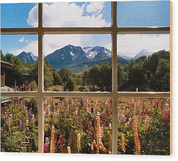 Lupines And Mountains Wood Print