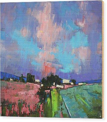 Wood Print featuring the painting Lupines Color by Anastasija Kraineva