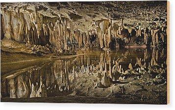 Luray Caverns - Virginia - Reflections At Dream Lake Wood Print by Brendan Reals