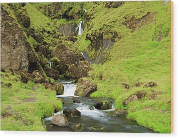 Wood Print featuring the photograph Lush Icelandic Falls by Brad Scott