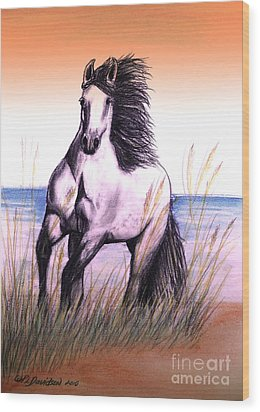 Lusitano Thunder By The Sea Wood Print by Patricia L Davidson