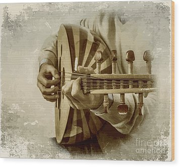 Grey Lutenist Wood Print