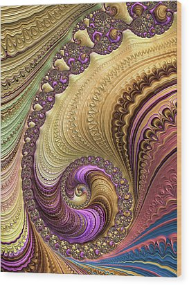 Luxe Colorful Fractal Spiral Wood Print by Matthias Hauser