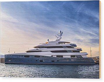 Luxury Yacht Wood Print by Elena Elisseeva