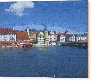 Luzern Lake Front Wood Print by Chuck Shafer