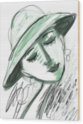 Wood Print featuring the digital art Lydia by Elaine Lanoue