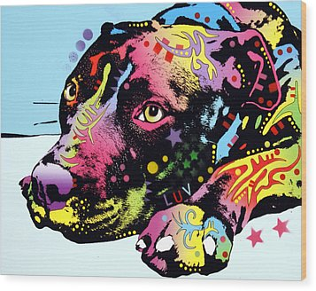 Lying Pit Luv Wood Print by Dean Russo