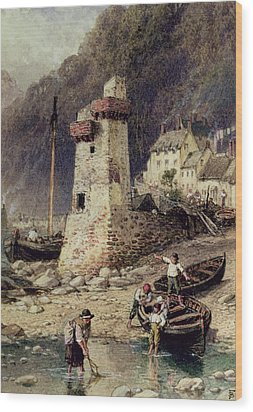 Lynmouth In Devonshire Wood Print by Myles Birket Foster