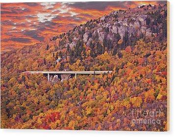 Lynn Cove Viaduct Blue Ridge Autumn Fire Sky Wood Print by Dan Carmichael