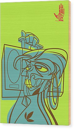 Lyte Skeleto Wood Print by Nelson Garcia